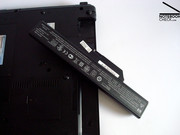 The 63 Wh 8 cell battery takes up the whole of the back of the case, only leaving room for the display hinges.