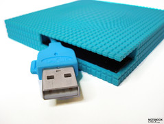 Rubber case with integrated USB cable