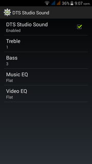 The DTS menu enables adapting the sound according to personal preferences.