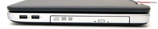 Right: 2 USB 2.0 ports, DVD drive