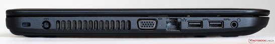 left side: Kensington lock, fan slits, VGA, Ethernet, 2x USB 3.0, audio jack
