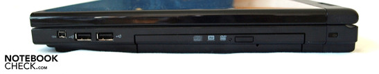 Right: FireWire, 2x USB 2.0, optional drive, Kensington lock