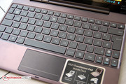 The keyboard is small, but allows the user to type fast.