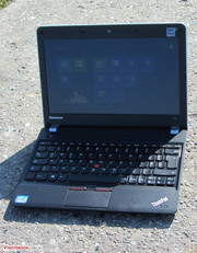 The ThinkPad outdoors.