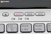 "There are four special buttons above the keyboard. Their function from left to right: DVD eject, ""Vaio Care"", browser start, ""Vaio Control Center""."