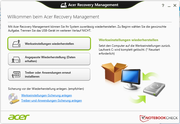 The recovery management software enables the backup and recovery of the system, drivers and the applications.