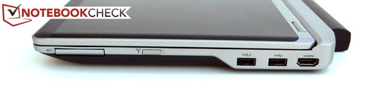 Right: ExpressCard/34, Wi-Fi main switch, 2x USB-3,0, HDMI