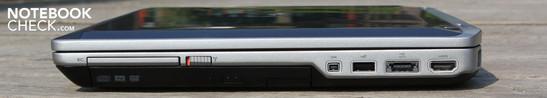 Right: ExpressCard54, WLAN slider, DVD drive, FireWire, USB 2.0, eSATA, HDMI