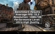 The graphics benchmark Epic Citadel proves: The HP Slate 7 VoiceTab is not made for gaming.