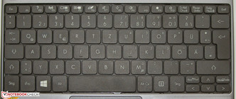 Packard Bell uses the full width of their netbook for the keyboard.