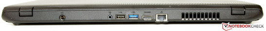 Rear: power socket, combo audio, USB 2.0, USB 3.0, HDMI, Gigabit Ethernet.