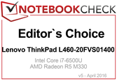 Editor's Choice in April 2016: Lenovo ThinkPad L460