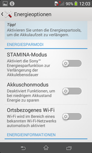 Stamina Mode extends the already very good battery runtime considerably.