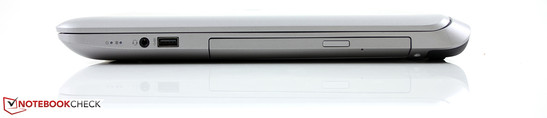 Right side: combined audio, USB 3.0, optical drive DVD+/-RW DL