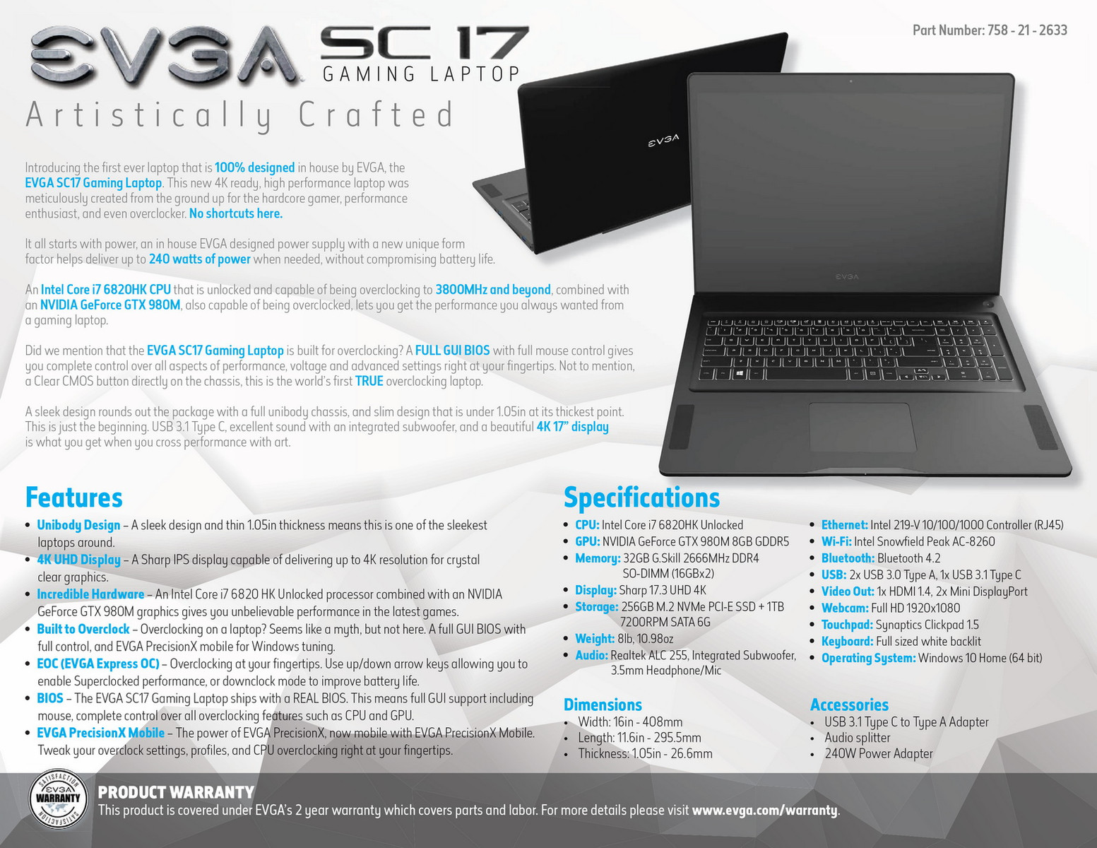 EVGA details SC17 gaming laptop with GeForce GTX 980M graphics