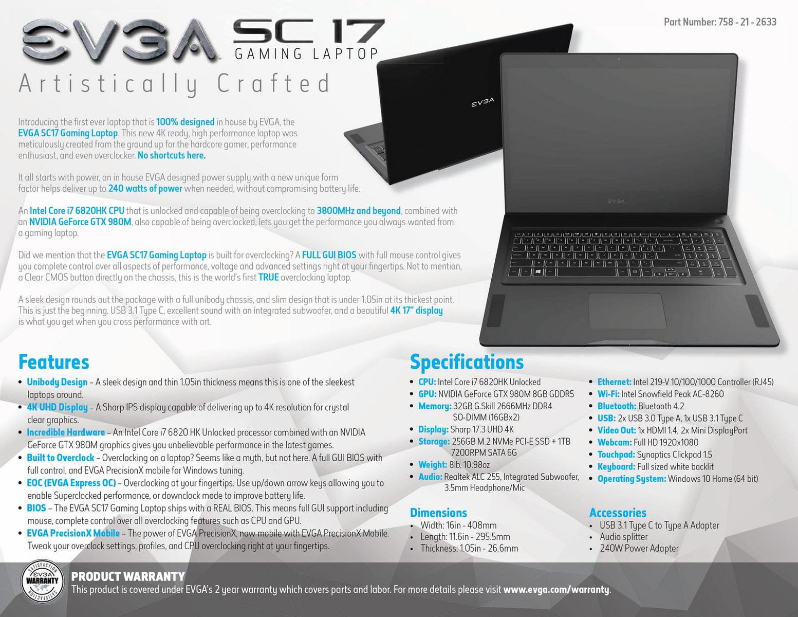 Evga Details Sc17 Gaming Laptop With Geforce Gtx 980m