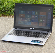 The Asus F550CA outdoors.