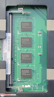 4 GB of working memory is soldered to the motherboard. There is a free memory bank available.