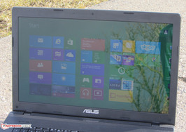 The Asus F75A in outdoor usage.
