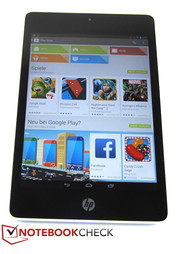 The display of the HP Slate 8 Pro offers 1600x1200 pixels yielding an aspect ratio of 4:3 (rather unusual for Android).