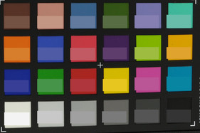 ColorChecker colors photographed. The corresponding reference color is displayed in the bottom half of each field.