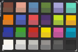 Screenshot of ColorChecker colors. Original colors are displayed in the lower half of each patch.