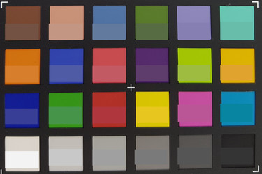 Picture of ColorChecker colors. Original colors are displayed in the lower half of each patch.