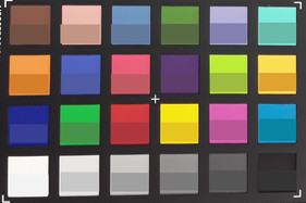 A photo of the ColorChecker chart. The lower half of each patch shows the original color.