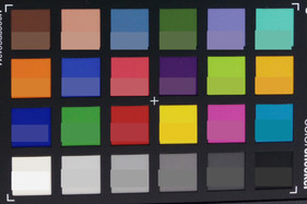 Screenshot of ColorChecker colors. Reference colors are displayed in the lower half of each patch.