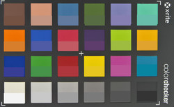Screenshot of ColorChecker colors. The original color is displayed in the lower half of every patch.