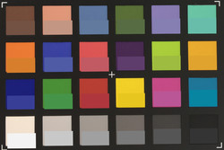 ColorChecker Passport picture: The target color is displayed in the bottom half of each patch.