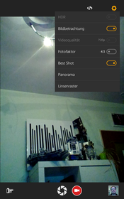 The webcam's options are limited. Pictures display heavy image noise and low sharpness, especially in low light
