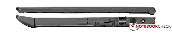 Right side: DVD writer in modular drive bay, 2x USB, power