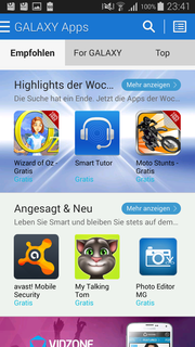 Galaxy Apps lists recommended applications and…