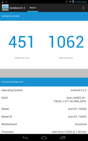 The Acer Iconia One 7 performs very respectably in the Geekbench 3 benchmark.