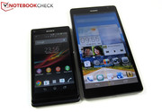 6.1-inches versus 4.3-inches: right, the Ascend Mate, left, the Sony Xperia L (soon to be tested).