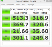CrystalDiskMark 513 MB/s sequential read