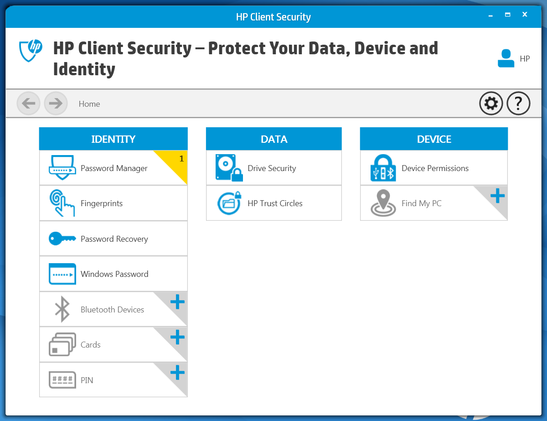 HP Client Security Software, preinstalled on the Folio G1