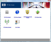 The info button starts the HP Info Center, which allows accessing the user manual, among other things...