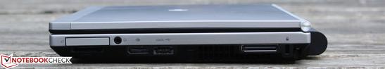 Right side: ExpressCard34, Cardreader, Audio/Mic combo, DisplayPort, eSATA/USB 2.0 combo, DockingPort, Kensington