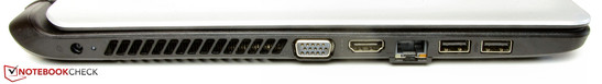 Left side: power connection, VGA output, HDMI, Ethernet port, 2x USB 3.0