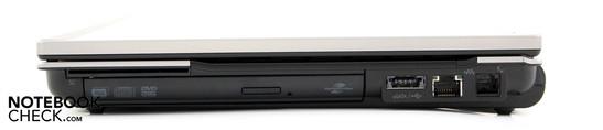 Right: SmartCard, DVD drive, eSATA/USB combo, LAN, modem
