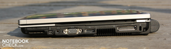 Right: ExpressCard/34, card reader, FireWire, audio/mic combi, VGA, Display Port, docking port, Kensington lock slot