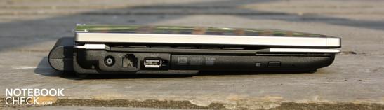 Left: power, modem, USB 2.0, DVD multiburner, smart card reader