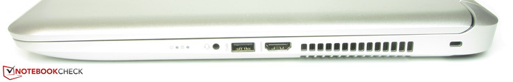 Right side: Combined stereo jack, USB 3.0, HDMI, slot for a Kensington Lock