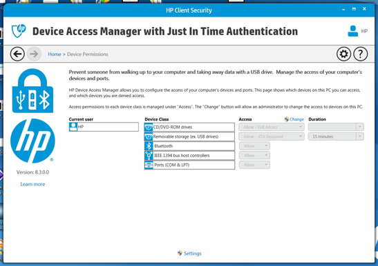 HP Drive Access Manager, which provides authentication requirement options for external and network devices