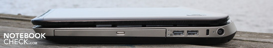 Right side: DVD burner, 2x USB 3.0, Kensington Lock, AC output