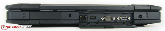 Rear: Kensington Lock, Ethernet port, USB 2.0, RS-232 serial port, VGA-out, power-in