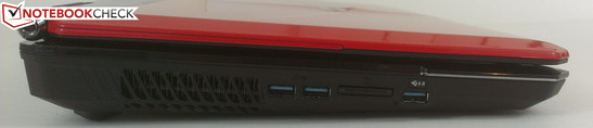 Left: 3x USB 3.0, 7-in-1 card reader
