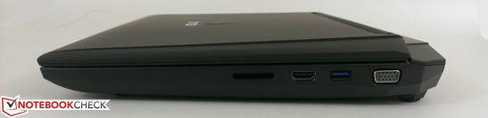Right: Card Reader ( SD/ MS/ MMC), HDMI 1.4, 1x USB 3.0, VGA-out